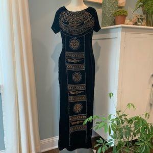 Unique Velvet Egyptian Print Long, Maxi Side Slits
